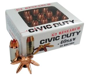 G2 Research 40 S&W 122 Gr Civic Duty Ammunition (20)