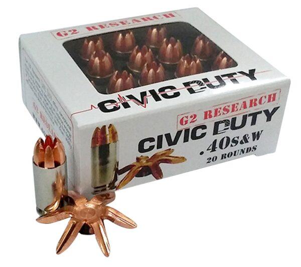 G2 Research 40 S&W 122 Gr Civic Duty Ammunition (20)