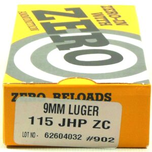 Zero Reload 9mm 115 Grain Jacketed Hollow Point (50)