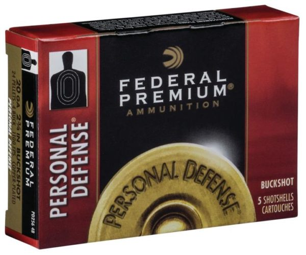 "Federal 20 Ga Premium Personal Defense 2.75"" Buckshot 24 Pellets 4 Buck (5)"