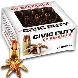 G2 Research 45 ACP 169 Gr Civic Duty Ammunition (20)