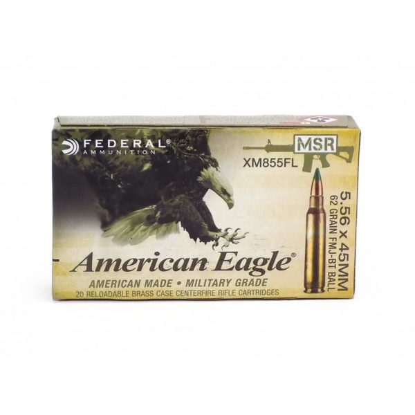 Federal 5.56 NATO 62 Gr Green Tip FMJ Ball M855 Penetrator (20)