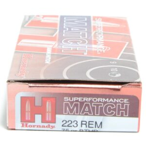 Hornady 223 Rem 75 Grain Hollow Point Boat Tail Match Superformance (20)