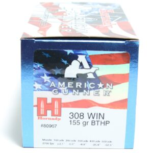 Hornady 308 Win 155 Grain Hollow Point Boat Tail American Gunner (50)