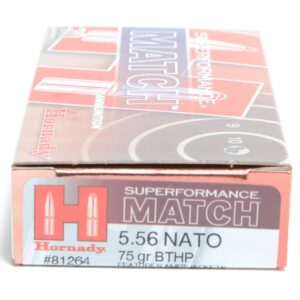 Hornady 5.56 Nato 75 Grain Hollow Point Boat Tail Match Superformance (20)