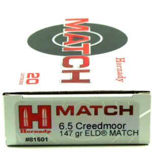 Ammo Fast - HOR81501 - Hornady 6.5 Creedmoor 147 Grain ELD-M (Extremly Low Drag) Match (20)