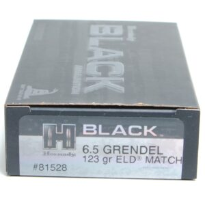 Hornady 6.5 Grendel 123 Grain ELD-M (Extremly Low Drag) Match Black (20)