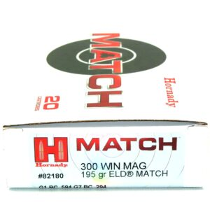Hornady 300 Win Magnum 195 Grain ELD-M (Extremly Low Drag) Match (20)