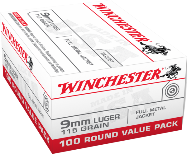 Winchester 9mm Luger 115 GR FMJ Value Pack (100)