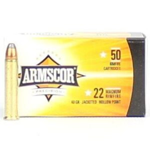 Armscor 22 Mag 40 Gr JHP Nickle Case (50)