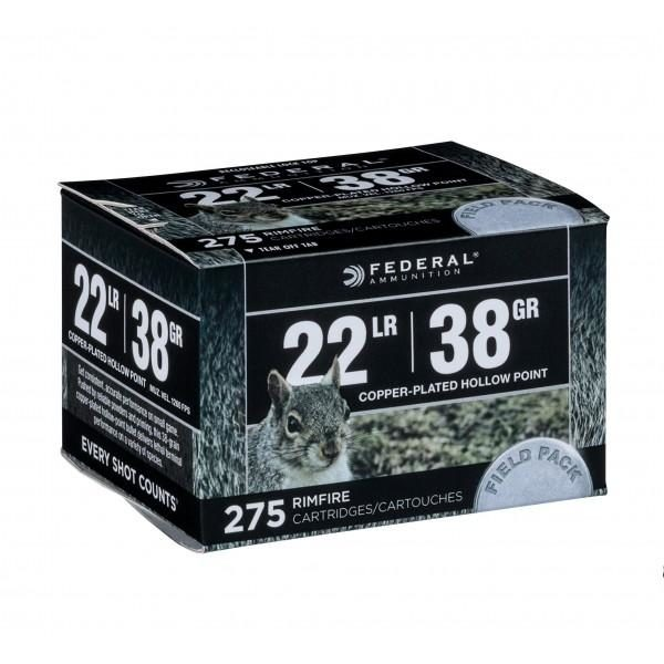 Federal 22 LR 38 Gr Plated Lead HP Field Pack (275)