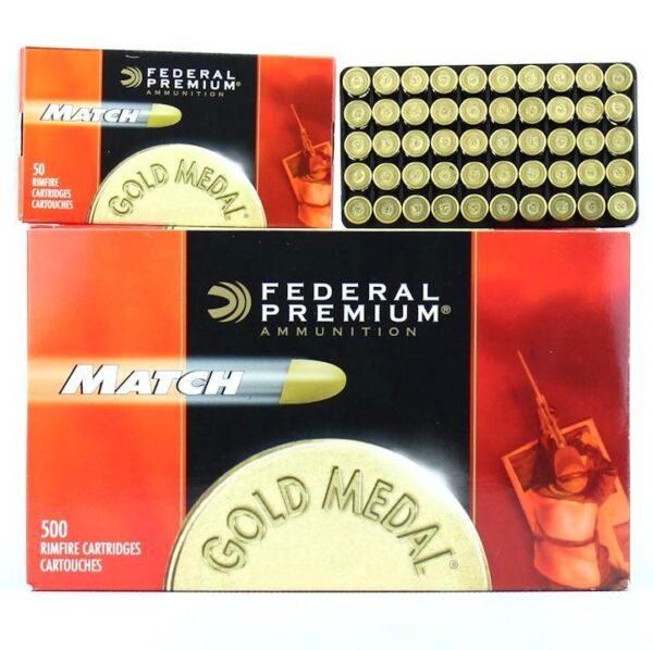 Federal 22 LR 40 Gr Solid Premium Gold Medal Match (50)