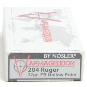 Nosler 204 Ruger 32 Grain Flat Base Hollow Point Varmageddon(20)