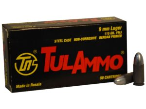 Tula Ammo 9mm 115 Grain FMJ (Bi-Metal) Steel Case Berdan Primed (50)