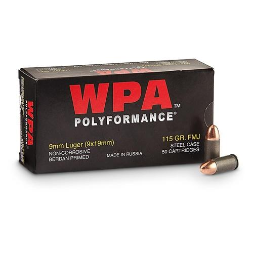 Wolf 9mm 115 Gr FMJ (50)