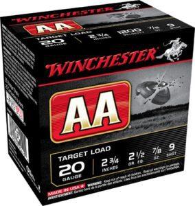 """Winchester Shotshell 20 Ga 7/8 Oz #9 2 3/4"""" AA Target Load 1200 Fps (25)"""