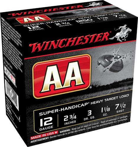 "Winchester Shotshell 12 Ga 1 1/8 Oz #7.5 2 3/4"" AA Super-Handicap 1250 Fps (25)"