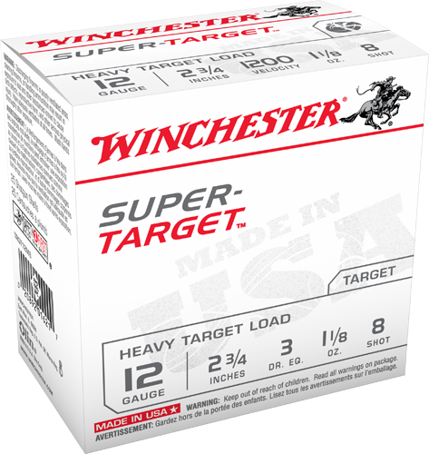 "Win Shotshell 12 Ga 1 1/8 Oz #8 2 3/4"" 3Dr Super Target 1200 Fps (25)"
