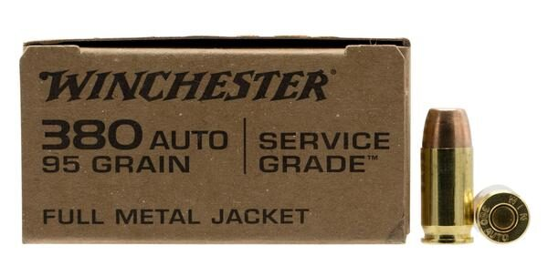 Winchester 380 ACP 95 Grain Full Metal Jacket Flat Nose Service Grade (50)