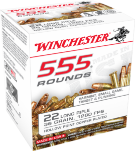 Winchester 22 LR 36 Grain Hollow Point (555) Copper Plated
