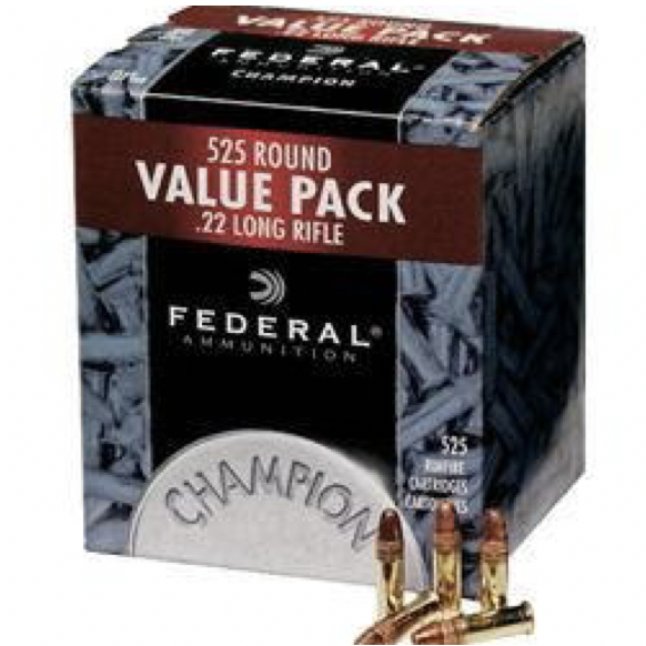 Federal 22 LR 36 Gr Champion Copper-Plated HP (525)