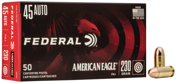 Federal 45 Auto 230 Grain American Eagle Full Metal Jacket 50 Rounds