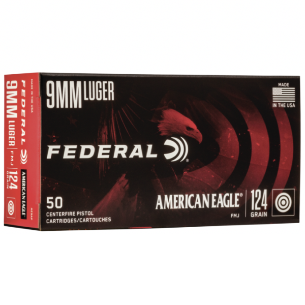 Federal 9mm 124 GR FMJ American Eagle (50)