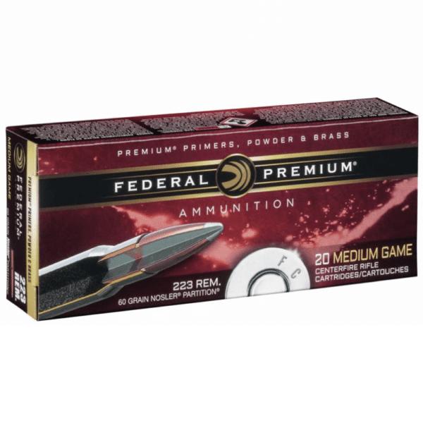 Federal 223 Rem 60 Gr Premium Nosler Partition (20)