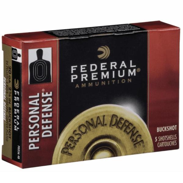 "Federal 20 Ga Premium Personal Defense 2.75"" Buckshot 24 Pellets 4 Buck (5)"