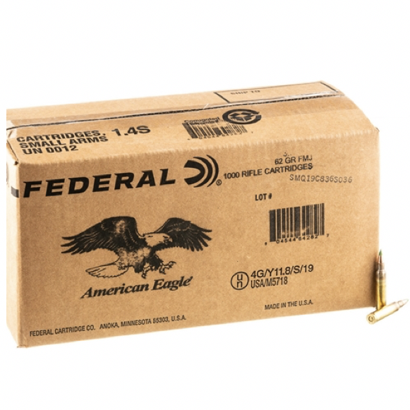 Federal 5.56 NATO 62 Gr Green Tip FMJ Ball M855 Penetrator (1000)
