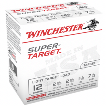 """Winchester 12 Gauge 2 3/4"""" 1 1/8 oz 7 1/2 Shot Super Target (25)"""