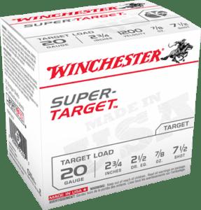 """Winchester 20 Gauge 2 3/4"""" 7/8 oz 7 1/2 Shot Super Target (25)"""
