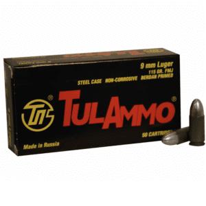 Tula Ammo 9mm 115 Grain FMJ (Bi-Metal) Steel Case Berdan Primed (50)