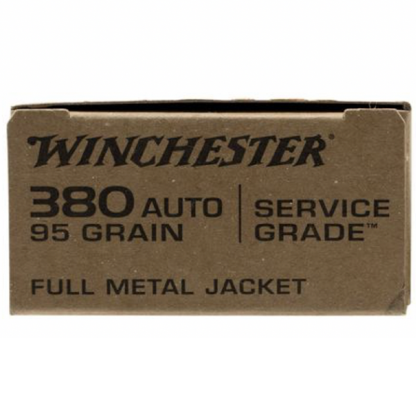 Winchester 380 ACP 95 Grain Full Metal Jacket Flat Nose Service Grade (50)