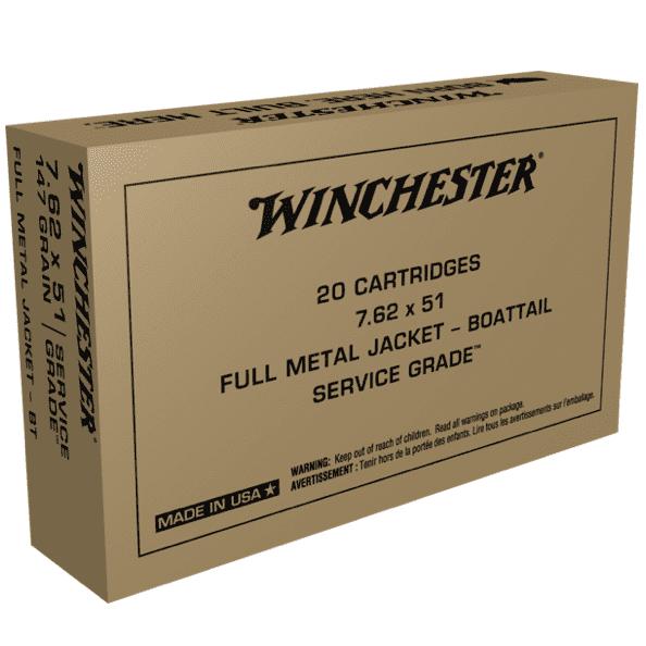 Winchester 7.62X51 NATO 147 Grain Full Metal Jacket Boat Tail (50)