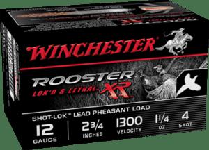 """Winchester 12 Gauge 2.75"""" 1-1/4 oz 4 Shot Rooster XR (15)"""