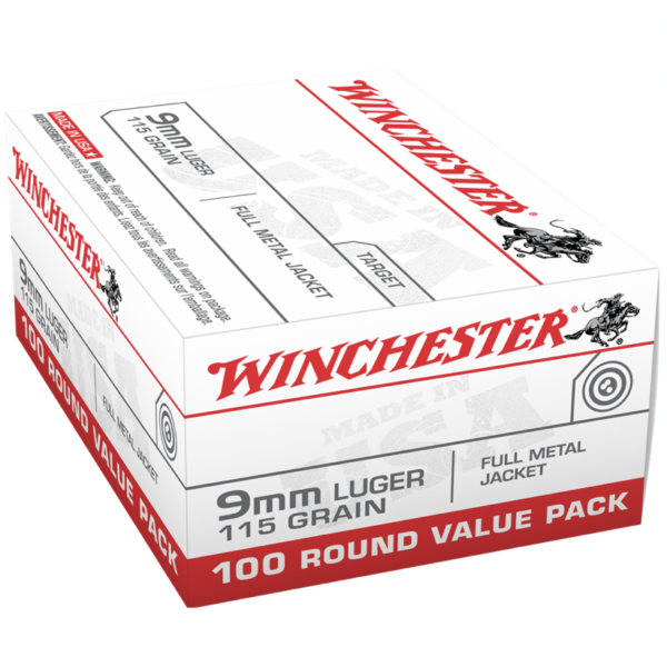 Winchester 9mm Luger 115 GR FMJ Value Pack (100)