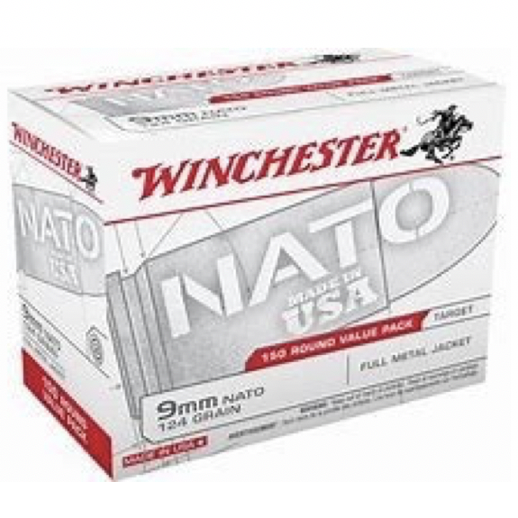 Winchester 9MM Nato 124 Gr. FMJ Value Pack (150)
