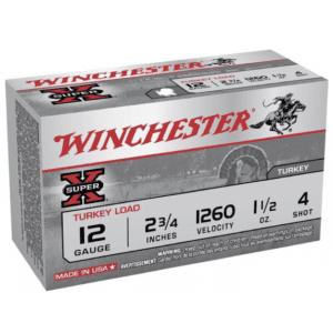 "Winchester 12 Gauge 2-3/4"" 1-1/2oz #4 Copper-Plated Lead Super-X Turkey (10)"