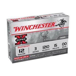 "Winchester 12 Gauge 3"" Copper-Plated Lead 15 Pellets 00 Buck Super-X (5)"