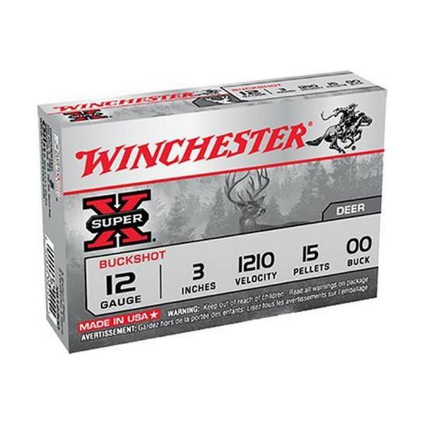"Winchester 12 Gauge 3"" Copper-Plated Lead 15 Pellets 00 Buck Super-X (5)"