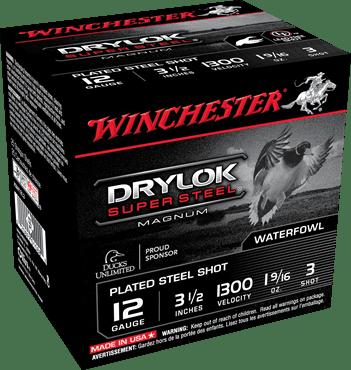 "Winchester 12 Gauge 3.5"" 1-5/8 oz 3 Shot Drylok (25)"