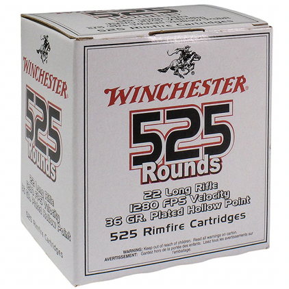 Winchester 22 LR 36 Grain Hollow Point (525) Copper Plated