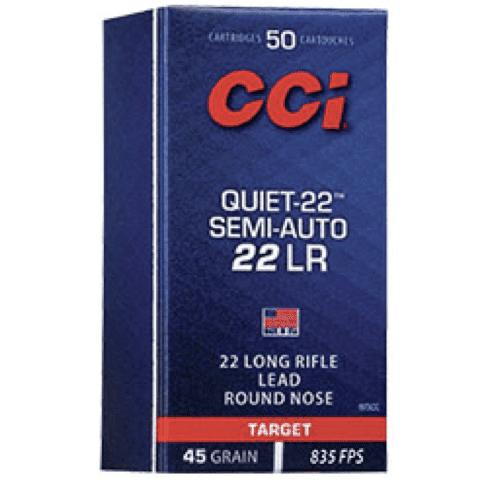 CCI 22 LR 45 GR LRN Quiet-22 Semi-Auto (50)