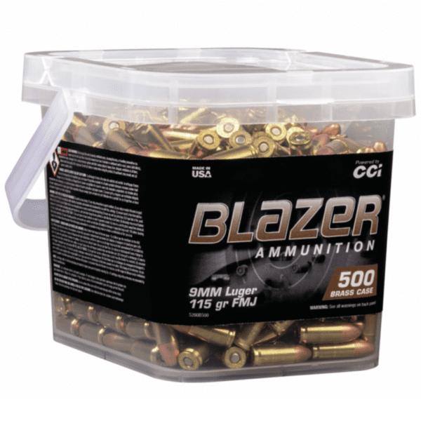 CCI Blazer Brass 9MM 115 Gr FMJ (500) Range Bucket