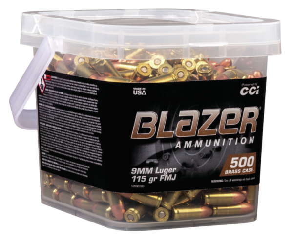 CCI Blazer Brass 9MM 115 Gr FMJ (500) Range Bucket