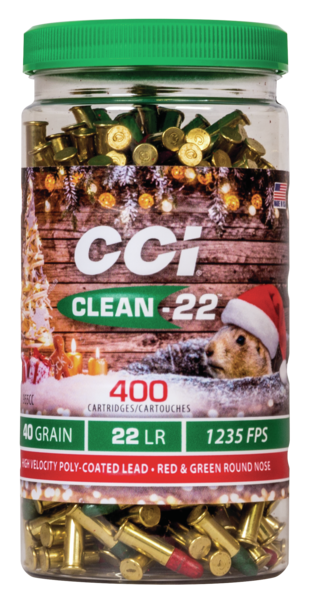 CCI 22 LR 40 Grain Lead Round Nose Clean-22 (400) Christmas Ammo
