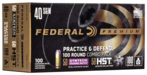 Federal 40 S&W 180 Gr HST 50 Count & TSJ American Eagle SYNTECH 50 Count (100) Combo Pack