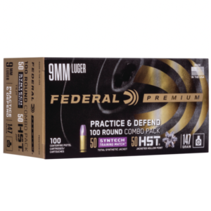 Federal 9MM 147 Gr HST 50 Count and TSJ American Eagle SYNTECH 50 Count (100) Combo Pack