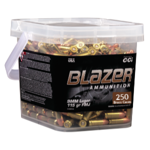 CCI Blazer Brass 9MM 115 Gr FMJ (250) Range Bucket